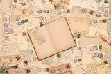 vintage background with old handwritten postcards  Fototapety Sepia Fototapeta