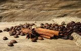 Roasted coffee beans  and spices on grunge wooden board  backgro  Kuchnia Plakat