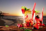 Fresh mojito cocktails on beach  Plakaty do kuchni Plakat