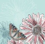 Illustration of beautiful butterflies flying around flower.  Na meble Naklejka