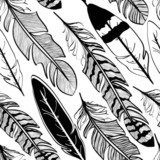 Seamless pattern of bird feathers  Na meble Naklejka