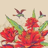 Vintage Card with Red Flowers and Hummingbirds.  Na meble Naklejka