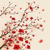 Oriental style painting, plum blossom in spring  Na meble Naklejka