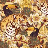 Tropical floral seamless background with Tiger  Na meble Naklejka