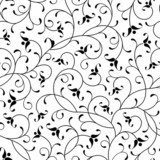 floral oriental black isolated seamless background  Na meble Naklejka