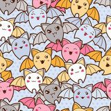 Seamless kawaii cartoon pattern with cute bats.  Na meble Naklejka