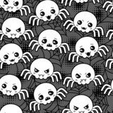 Seamless halloween kawaii cartoon pattern with cute spiders.  Na meble Naklejka