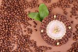 Beautiful clock of coffee beans, on brown background  Obrazy do Kuchni  Obraz