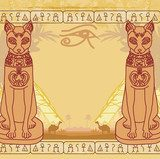 Stylized Egyptian cat , abstract grunge card  Afryka Fototapeta