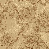 BeautifulSeamless Rose Background with Birds  Na laptopa Naklejka