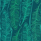 Seamless pattern of bird feathers  Na laptopa Naklejka