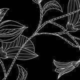 Abstract background with flowers in black and white style  Na laptopa Naklejka