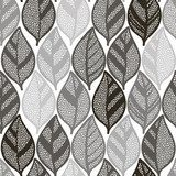 Seamless monochrome pattern with striped abstract leaves.  Na laptopa Naklejka