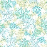 Vector scattered blue green branchesl seamless pattern  Na laptopa Naklejka