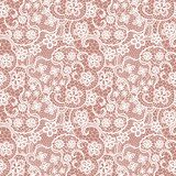 Lace seamless pattern with flowers on beige background  Na laptopa Naklejka