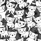 Seamless halloween kawaii cartoon pattern with cute cats.  Na laptopa Naklejka