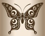 Monochrome butterfly. Decorative pattern of a butterfly.  Na laptopa Naklejka