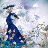 Floral Background with Peacock  Na laptopa Naklejka