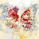 Creative grunge background with butterfly made from swirls and i  Na laptopa Naklejka