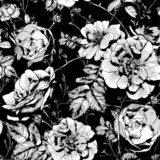Black and White Floral Seamless Background  Na laptopa Naklejka