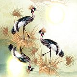 Beautiful outdoor background with birds in Chinese style  Na laptopa Naklejka