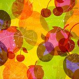 Vector Illustration of an Abstract Background with Fruits  Na lodówkę Naklejka