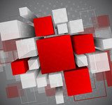 Abstract background with 3d cubes  Na sufit Naklejka
