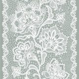 Abstract lace ribbon seamless pattern with elements flowers.  Na meble Naklejka