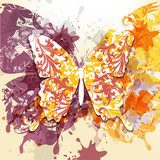Grunge art background with butterfly made from swirls and ink sp  Obrazy do Sypialni Obraz