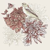 Flowers with bird illustration  Obrazy do Sypialni Obraz