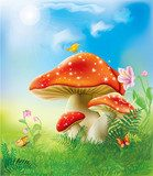 red magic mushrooms  Obrazy do Pokoju Dziecka Obraz