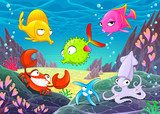 Funny happy animals under the sea.  Obrazy do Pokoju Dziecka Obraz