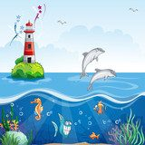 Children's illustration of the lighthouse and the sea dolphins.  Obrazy do Pokoju Dziecka Obraz