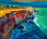 Cliffs and ocean  Olejne Obraz
