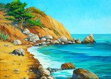 landscape of mediterranean sea with a beach and  bay, painting b  Olejne Obraz