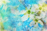 messy watercolor splatter and blooming spring twig  Olejne Obraz