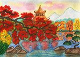 Autumn in Japan, painting  Olejne Obraz