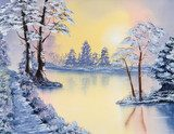 Painting of a pond in Winter  Olejne Obraz
