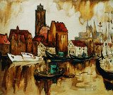 old harbour in the german city wismar, painting by oil on canvas  Olejne Obraz