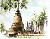 thailand ancient  temple water color painting  Olejne Obraz