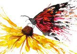 Butterfly on the flower  Olejne Obraz