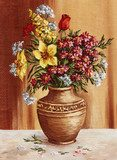 Painting, garden flowers in a clay amphora  Olejne Obraz
