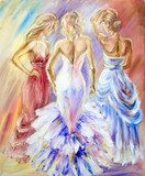 Beautiful women at the ball. Oil painting.  Olejne Obraz