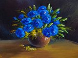 oil painting - still life, a bouquet of flowers, wildflowers  Olejne Obraz
