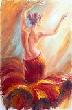 Beautiful dancing woman in red. Oil painting.  Olejne Obraz
