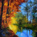 Oil Painting - autumn forest with a river  Olejne Obraz