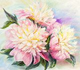 Peonies, oil painting on canvas  Olejne Obraz
