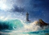 Seascape Wave and lighthouse  Olejne Obraz