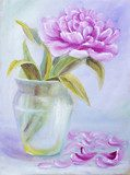 Peony in vase, oil painting on canvas  Olejne Obraz