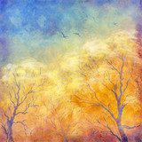 Digital oil painting autumn trees, flying birds  Olejne Obraz